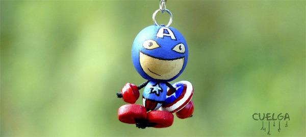 Llaveros Madera Superhéroe Capitan America