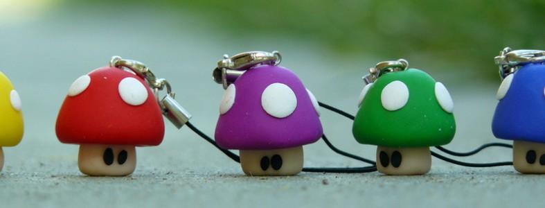 muñecos fimo setas de colores