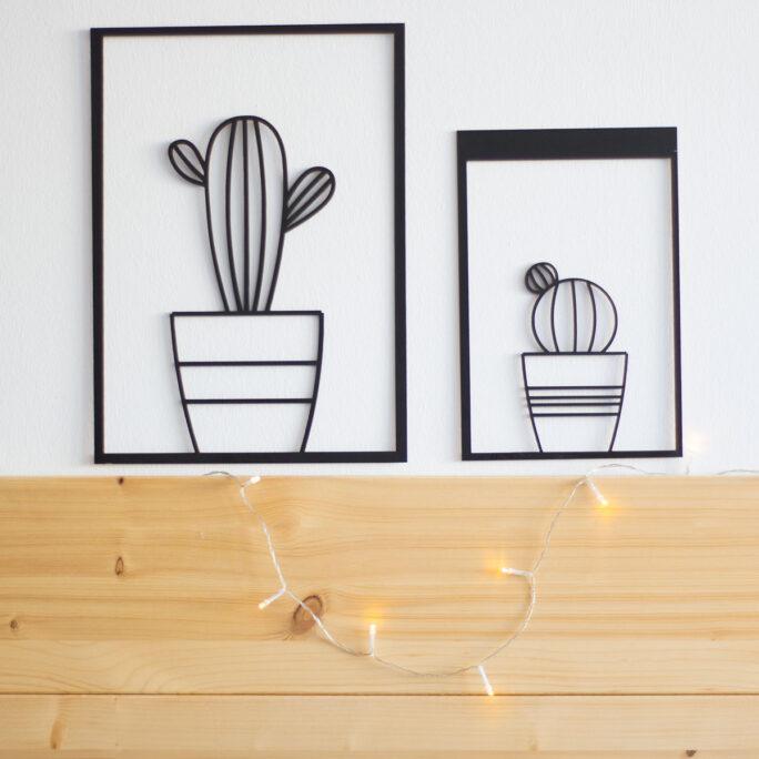 Cuadro cactus madera recortada